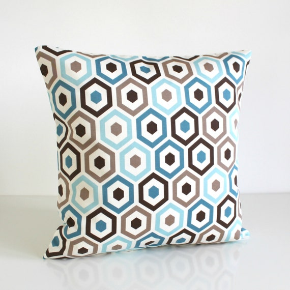 Blue Pillow Cover, 18 Inch Cushion Cover, 18x18 Inch Pillow Sham - Beehive Teal