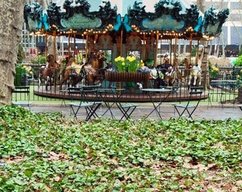 New York City Photography - Bryant Park Carousel Photo - NYC Photography - Green Home Decor  - Nursery Wall Art - Manhattan - Cafe Tables