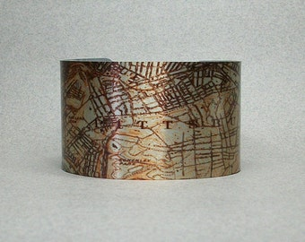 Pittsburgh Pennsylvania Vintage Map Cuff Bracelet Unique Gift for Men or Women