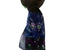 Paisley scarf Batik scarf Indian silk sari scarf Fashion scarves Black scarf Handmade scarves Most sold Made in canada Painted silk Dupatta