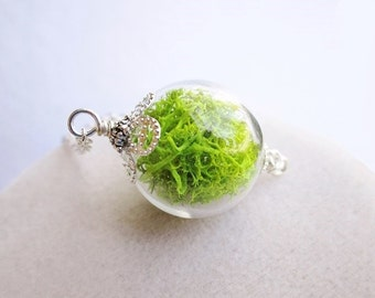 Green Moss Filled Glass Orb Terrarium Necklace, Small Orb In Silver or Bronze, Hipster Jewelry