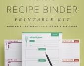 Recipe Binder Printable Kit, Editable DIY Recipe Box Organization PDF Set, 4x5 Cards and Full Letter Pages // Household PDF Printables
