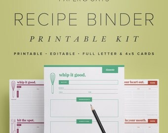 Recipe Binder Printable Kit, Editable DIY Recipe Box Organization PDF Set, 4x5 Cards and Full Letter Pages // Household PDF Printables