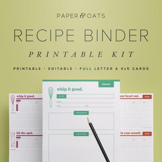 free recipe templates for binders - recipe binder kit printable recipe box cards recipe
