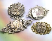 Upcycled Unique Watch Parts Handmade Silver Steampunk Brooch, one of a kind steampunk brooch, steam punk pin, steampunk jewelry, watch parts