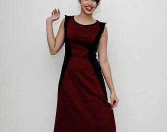 Midi dress,  50's dress, Retro dress, Tea dress, Burgundy sleeveless dress, Burgundy vintage dress, vegan dress