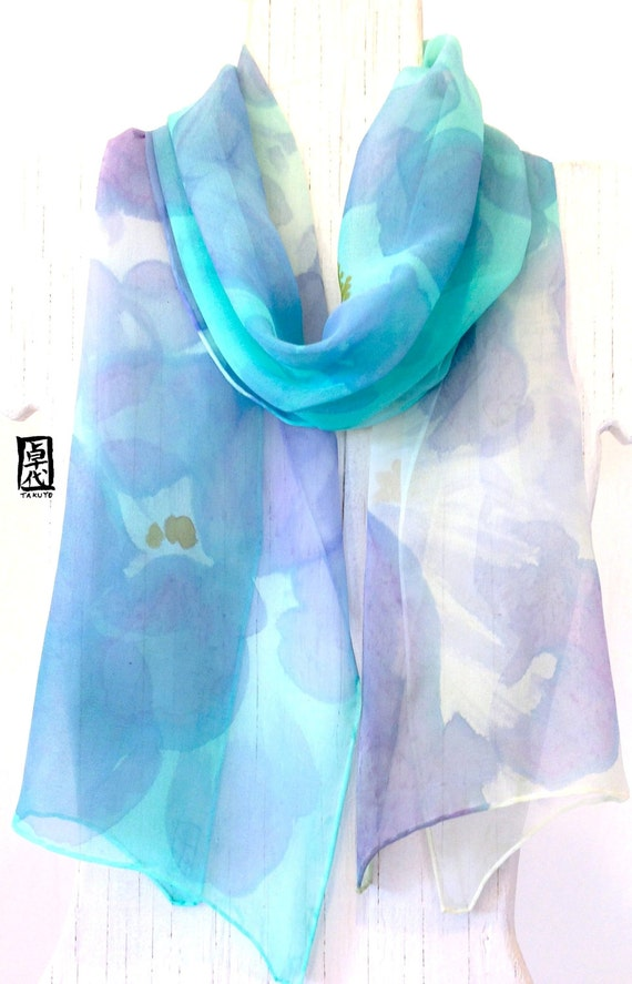 Blue Silk Scarf Hand painted, Ethereal Blue Japanese Peonies Scarf, Silk Chiffon Scarf, Silk Scarves Takuyo. 10x59 inches.