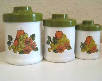 Vintage Canister - Set of 3 - Mod Fruit & Flowers - APCO - 1970's - Retro Tins - Kitchenware