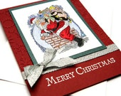 Santa Claus Card - Cards With Santa - Christmas Cards Pack - Holiday Cards Set - Merry and Bright - Greeting Cards - Stampin' Up Cards