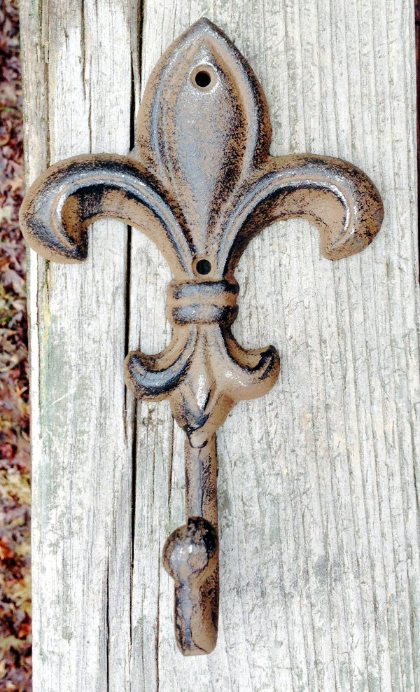 Fleur de lis wall hook iron hook coat hanger towel holder - Fleur de lis coat hook ...