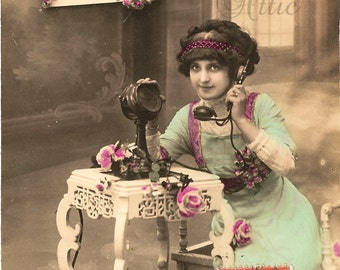 Pretty Edwardian Woman on Early Telephone Antique French Photo Postcard from Vintage Paper Attic