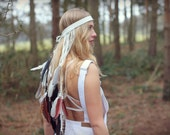 White fringe leather and feather headband, leather festival crown, bridal feather headpiece, fringe leather, dangling feathers