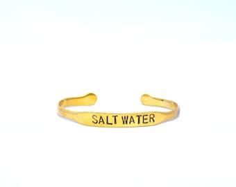 Salt Water Cuff | Heart Majestic | Mermaid Cuff | Mermaid Gift | Mermaid Bracelet | Gold Cuff | Quote Cuff | Silver cuff | simple cuff |