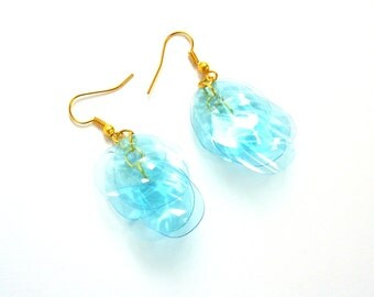 SALE Gold turquoise earrings made of plastic bottle aqua earrings upcycled jewelry gold blue earrings eco jewelry recycled earrings