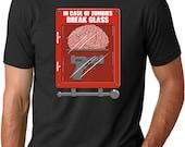 MENS In Case Of Zombies Break Glass T-Shirt cool zombie shirt, walker, undead, walker, fear, dead, the, halloween spirit, gift for him S-5XL