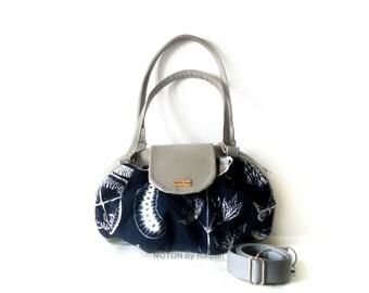 Grey and Blue Vegan Bag, Vegan Purse, Hobo Bag, Cross Body Bag