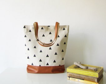 Canvas Tote bag,  Hand stamped , Geometry, Triangles, Book bag, Shopping bag, Casual tote, School bag, Toffee