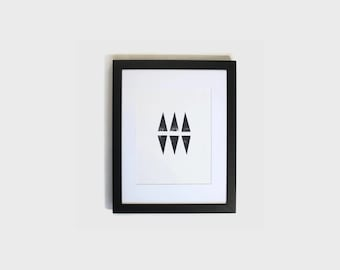 black triangle wall art // wall decoration // black office wall decor // trendy wall art // hand stamped art // black and white print