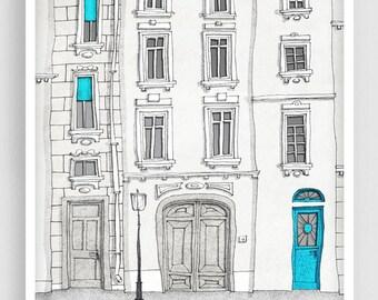 The magic door (vertical) - Paris illustration Fine art illustration Poster Paris art Home decor Large wall art Blue Turquoise Architecture