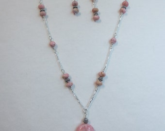 One Of A Kind- OOAK - Rhodochrosite - Set #1 - Necklace & Earrings - Pink - Sterling Silver