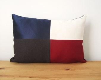 Color Block Pillow Cover, 12x18 Lumbar Decorative Pillow, Maroon Gray Navy Pillow Cover