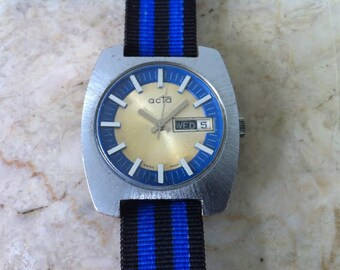 Acta Swiss Watch, Mid Century Modern, Dual Day/Date, Agon Mvt, vintage Men's Watch, Two Tone Blue & Gold Dial, Mod Numerals, Retro 1960s