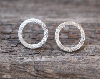 Circle Stud Earrings, round silver studs handmade from hammered sterling silver, unisex everyday ring earrings, 12mm hoop earring.