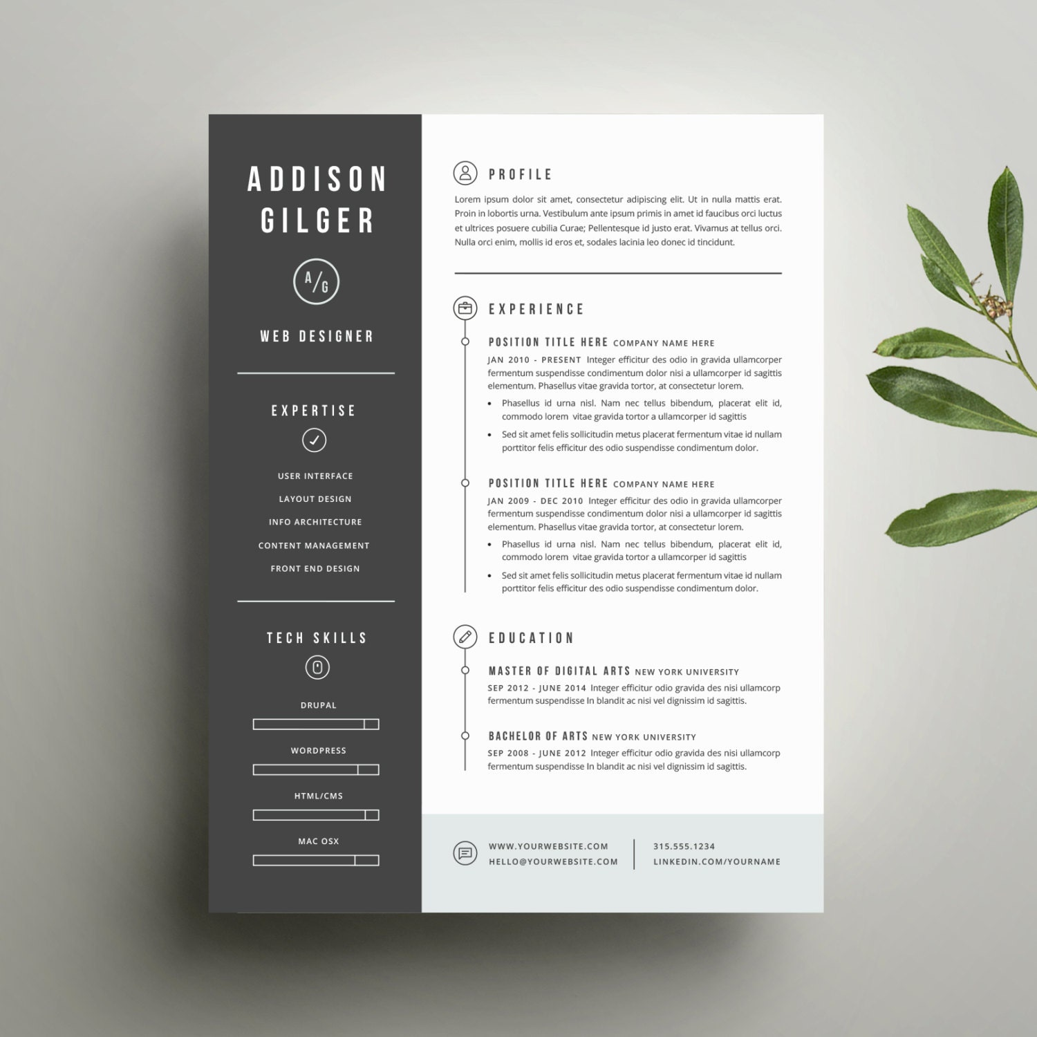 resume template and cover letter template for word digital 128270zoom