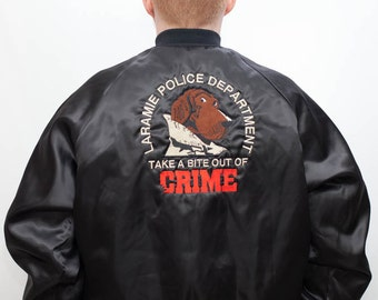 Vintage 90s McGruff Dog Jacket / Take a Bite Out of Crime with McGruff Dog Embroidery / Nylon Baseball Jacket / Size Large