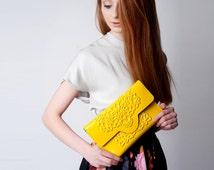 Vegan vinyl clutch / pvc clutch purse / non leather clutch bag / standout yellow clutch / floral embossed print / stylish yes ethical