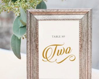 GOLD Script Table Numbers 5x7 - Wedding Reception Table Decor