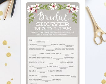 Instant Download - Bridal Shower Mad Libs - Shower Game - Wedding Shower Game - Bridal Shower - Popular Shower Games - A4 and US Sizes