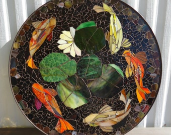 mosaic table floral motif custom stained glass by. Black Bedroom Furniture Sets. Home Design Ideas
