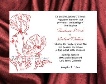 Poppy Flower Floral Wedding Invitation & RSVP  - Floral Wedding Invitation and RSVP - Poppy - Flower Design 20