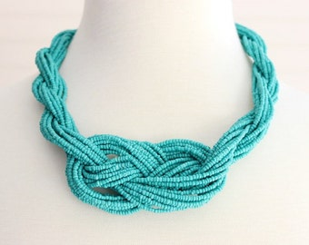 Turquoise Knot Beaded Necklace