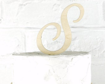 Removable Stakes 4 Inch Rustic Wedding Cake Topper Monogram Personalized in Any Letter A B C D E F G H I J K L M N O P Q R S T U V W X Y Z