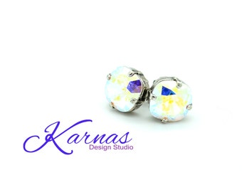 CRYSTAL AB 10mm Crystal Cushion Cut Stud Earrings Made With Swarovski Elements *Pick Your Finish *Karnas Design Studio *Free Shipping*