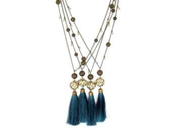 Long Tassel Necklace Tassel Boho Necklace Boho Chic Necklace Chain Bead Necklace Teal Necklace Tassel jewelry