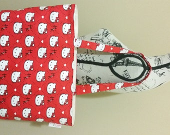 Red Hello Kitty Tote Bag, Shoulder Bag, Canvas Bag, School Bag, Large Tote