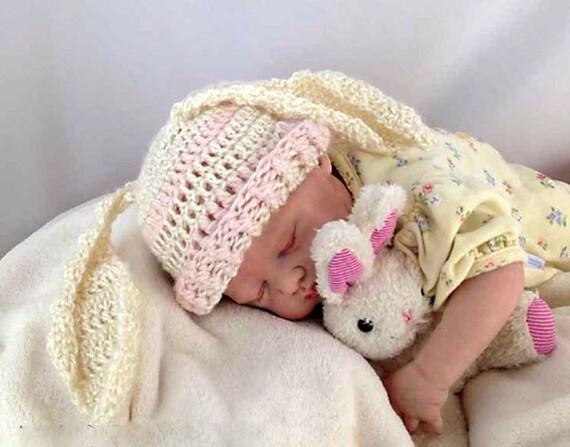 Outlander Crocheted Baby Bunny Hat Newborn to 3 months Mandy Pink Cream White Bonnet Photo Prop Rabbit Diana Gabaldon FREE SHIPPING