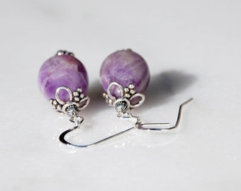 Teardrop Amethyst earrings sterling earrings, bali silver earrings, Handmade amethyst earrings. February birthstone earrings, purple earring