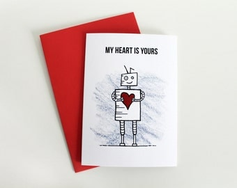 My Heart Is Yours, Robot Valentines Card, Cute Greeting Card, Valentines Love Card, Geek Valentine Art, Romantic Valentine Card