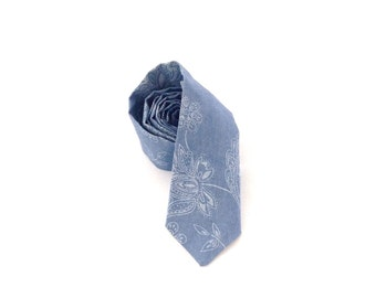 Carolina Blue Paisley Chambray Necktie