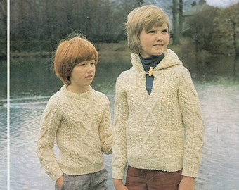 Aran Knitting Pattern With Hood : Childrens Knitting Pattern childrens aran coats aran jackets