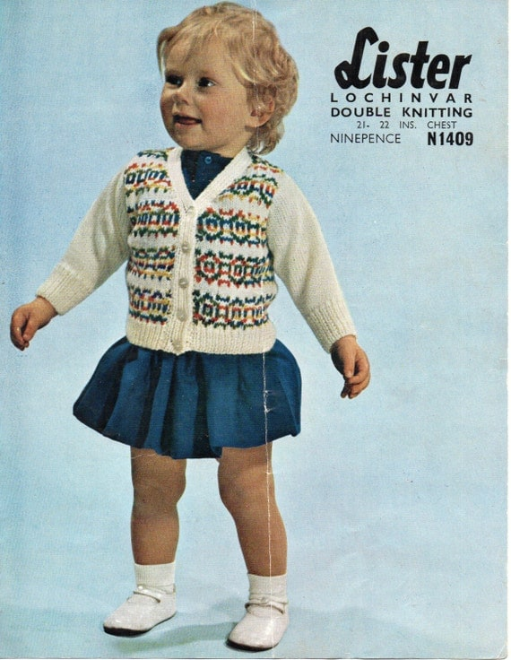 SALE Vintage baby fair isle cardigan knitting pattern PDF baby ...