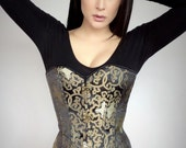 Oriental Gold & Black Chinoiserie Fashion Overbust Corset Top