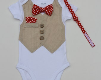 Baby boy Vest onesie with removable (optional) bow-tie and handkerchief