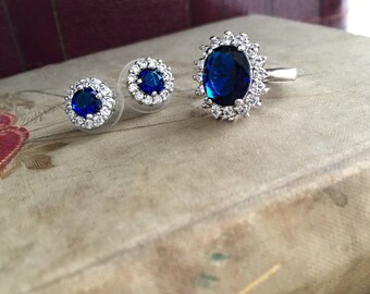 Bella Bridal Sapphire Earrings | Bridal Earrings with Round Cut Blue Cubic Zirconia and Post Backing