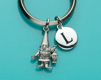 Gnome Keychain, Gnome Key Ring, Initial Keychain, Personalized Keychain, Custom Keychain, Charm Keychain, 160