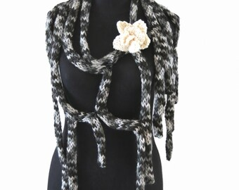 Hand knitted Scarf - Knit Flower Brooch - Knit Lariat - Warm Scarf - Winter Cowl - Gift For Her - Neckwarmer - Black & Grey Scarf - Cobweb